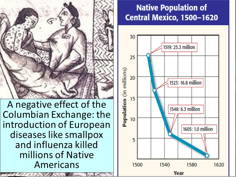 A negative effect of the Columbian Exchange: the introduction of European diseases like smallpox and influenza killed millions of Native Americans