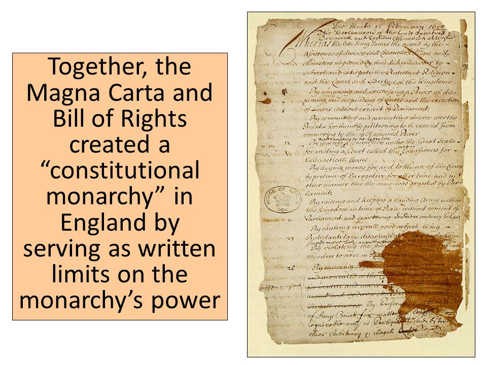 Together, the Magna Carta and Bill of Rights created a constitutional monarchy in England by serving as written limits on the monarchy's power