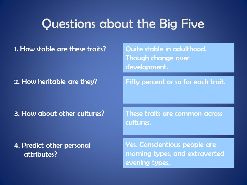 Questions about the Big Five