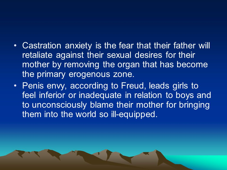 Castration anxiety is the fear that their father will retaliate against their sexual desires for their mother by removing the organ that has become the primary erogenous zone.