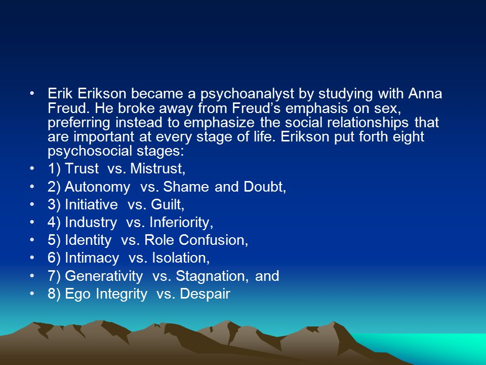Erik Erikson became a psychoanalyst by studying with Anna Freud