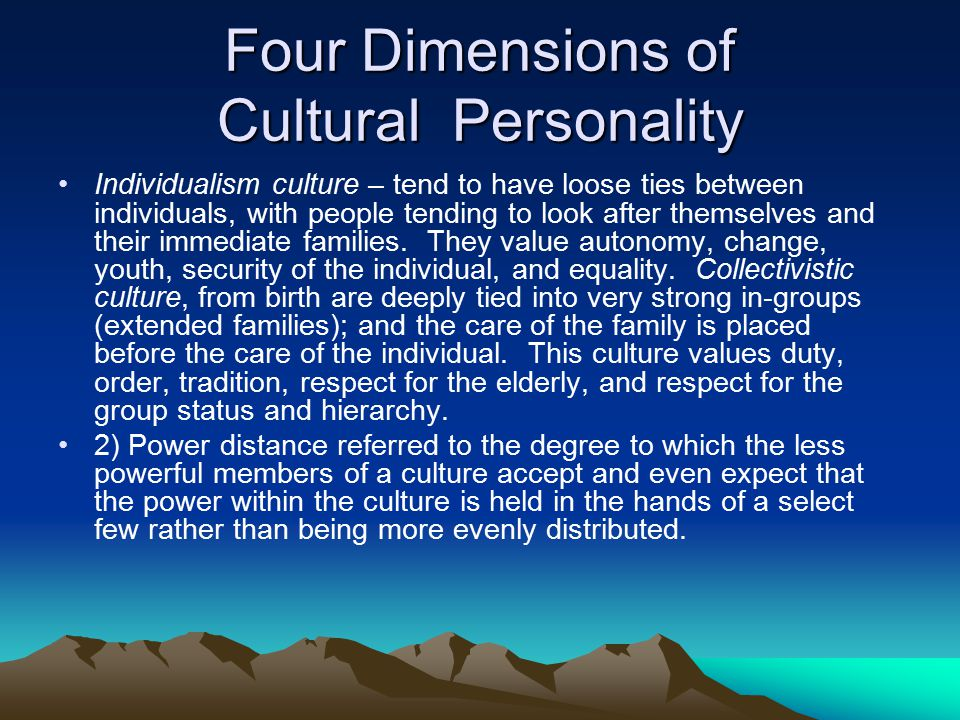 Four Dimensions of Cultural Personality