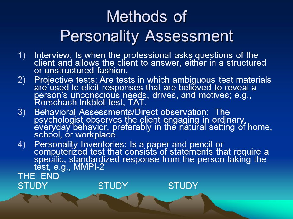 Methods of Personality Assessment