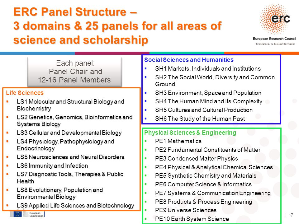 ERC Panel Structure – 3 domains & 25 panels for all areas of science and scholarship
