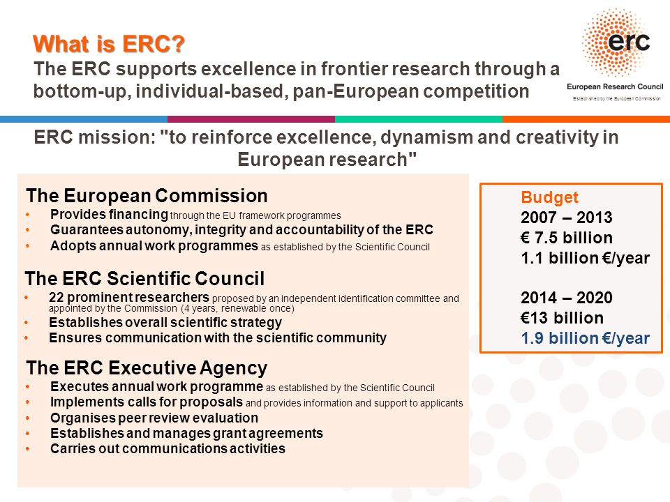 What is ERC The ERC supports excellence in frontier research through a bottom-up, individual-based, pan-European competition