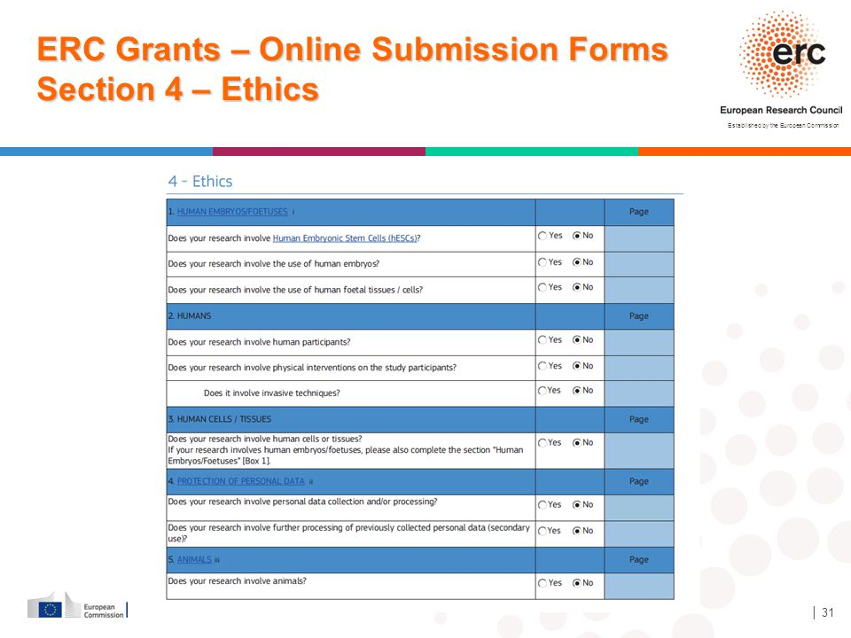ERC Grants – Online Submission Forms Section 4 – Ethics