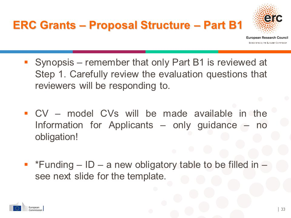 ERC Grants – Proposal Structure – Part B1