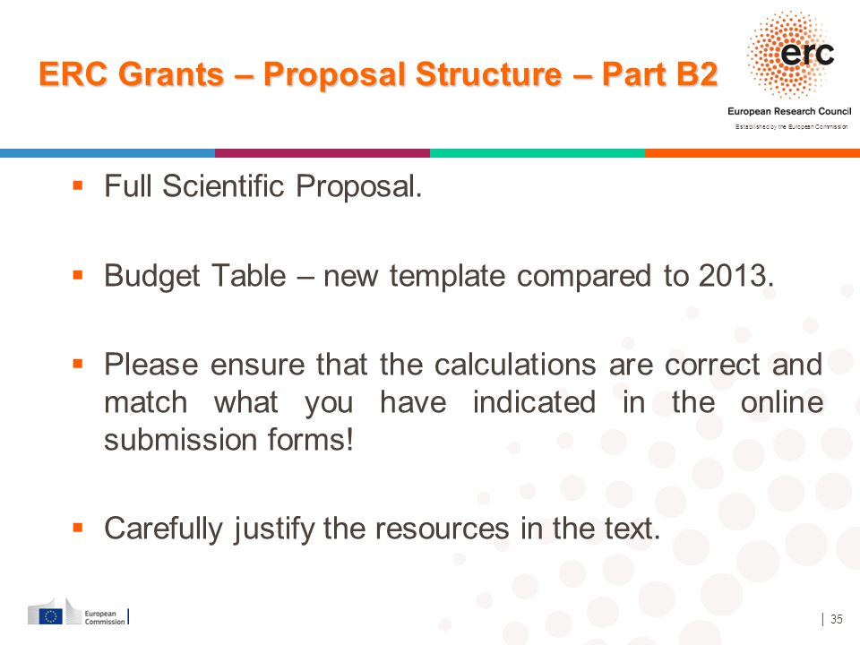 ERC Grants – Proposal Structure – Part B2