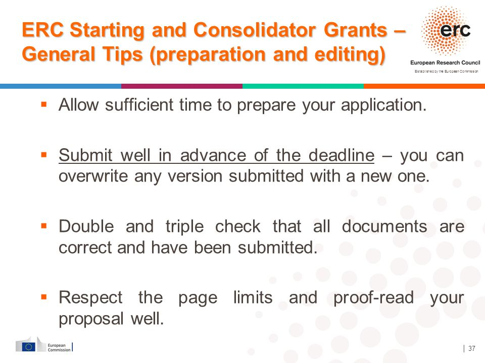 ERC Starting and Consolidator Grants – General Tips (preparation and editing)