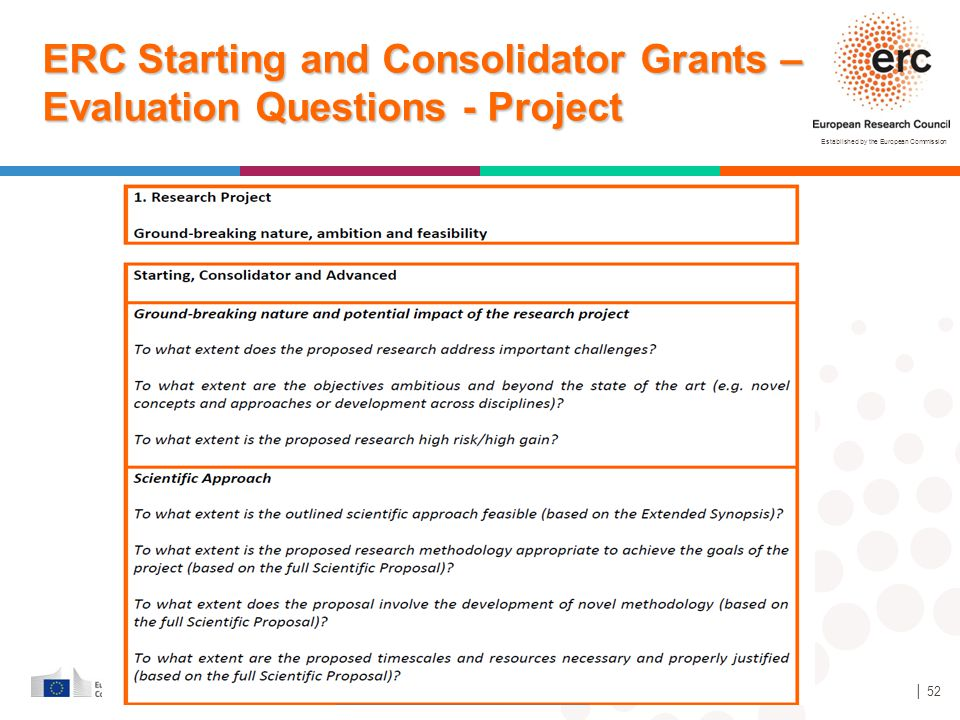 ERC Starting and Consolidator Grants – Evaluation Questions - Project