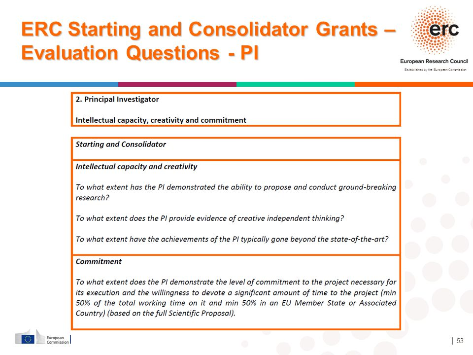 ERC Starting and Consolidator Grants – Evaluation Questions - PI