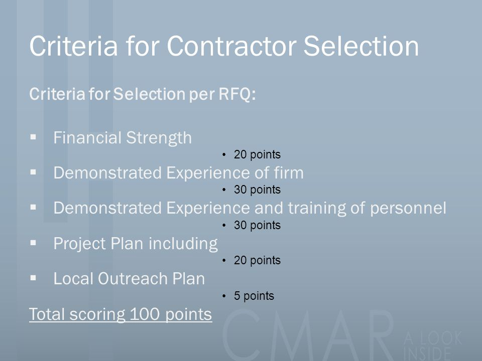 Criteria for Contractor Selection