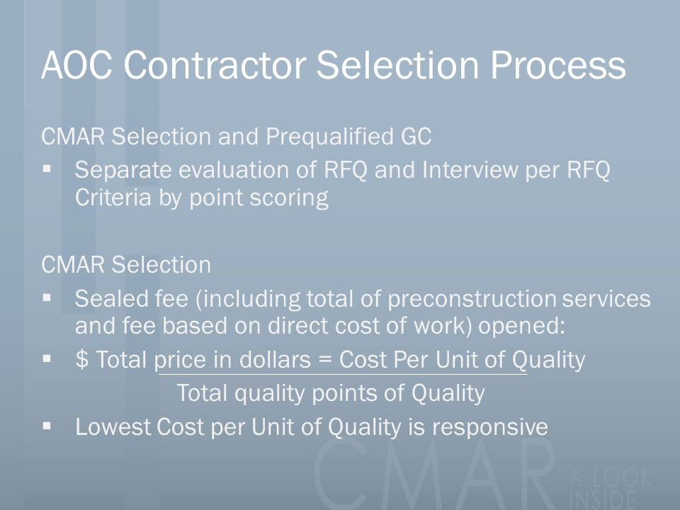 AOC Contractor Selection Process