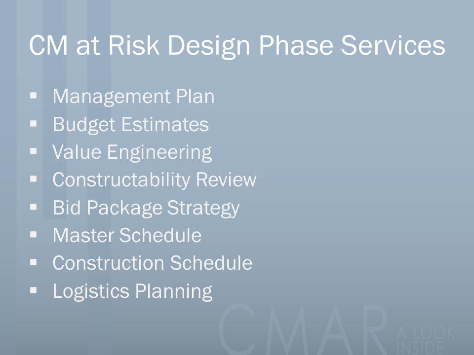 CM at Risk Design Phase Services