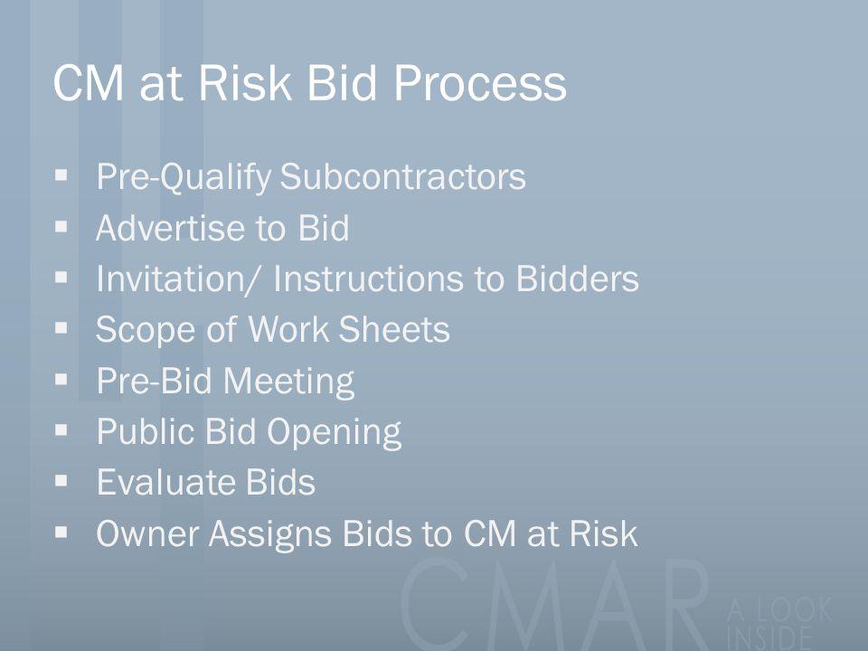 CM at Risk Bid Process Pre-Qualify Subcontractors Advertise to Bid