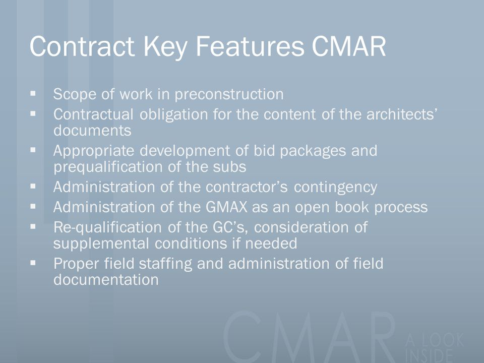Contract Key Features CMAR