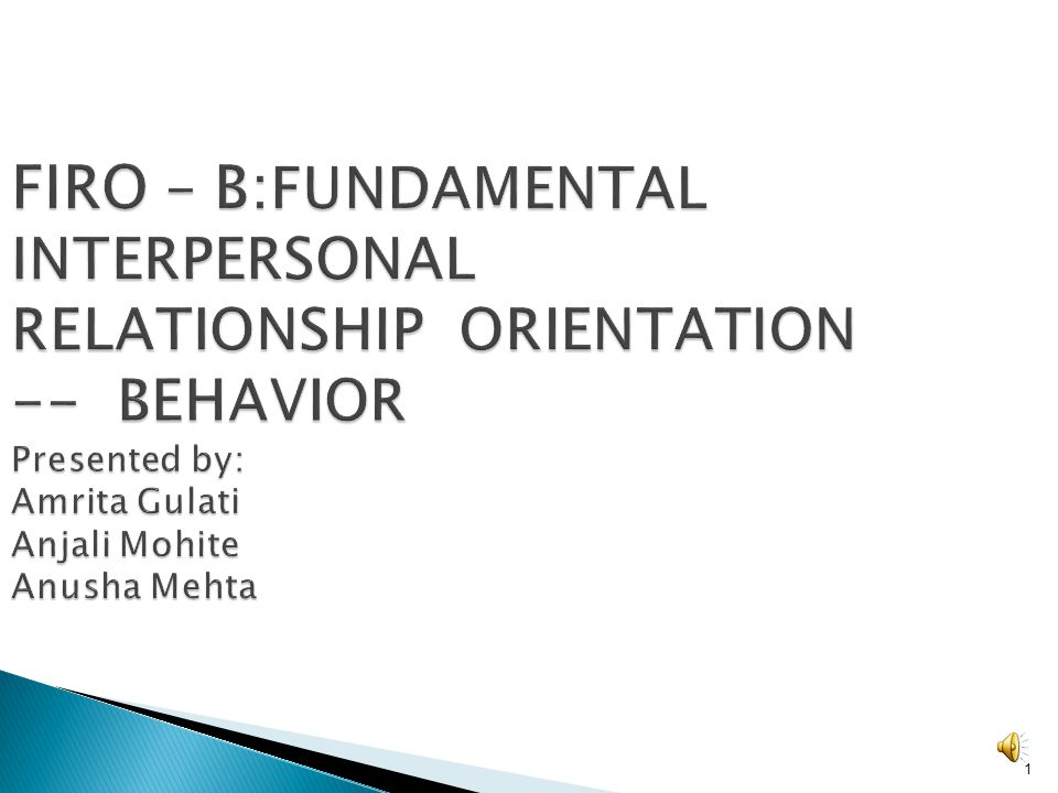 FIRO – B:FUNDAMENTAL INTERPERSONAL RELATIONSHIP ORIENTATION -- BEHAVIOR Presented by: Amrita Gulati Anjali Mohite Anusha Mehta
