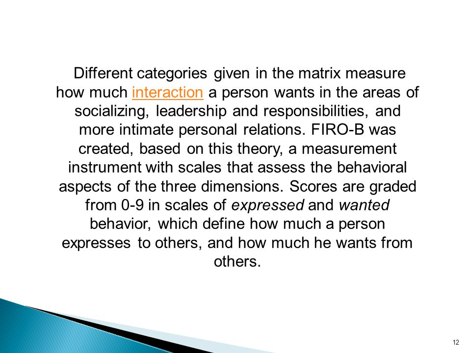 Different categories given in the matrix measure how much interaction a person wants in the areas of socializing, leadership and responsibilities, and more intimate personal relations.