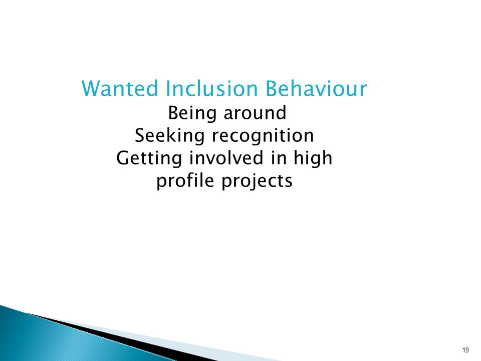 Wanted Inclusion Behaviour