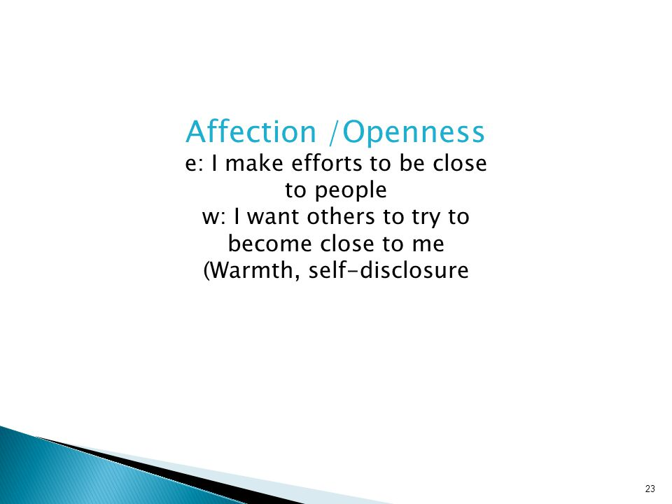 Affection /Openness e: I make efforts to be close to people