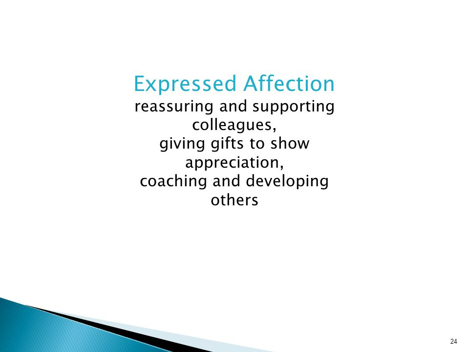 Expressed Affection reassuring and supporting colleagues,