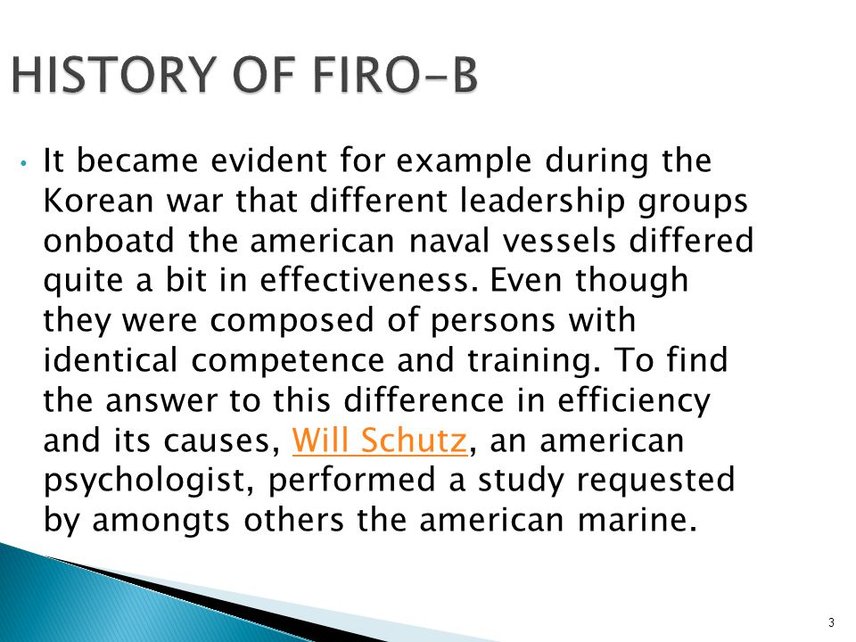 HISTORY OF FIRO-B