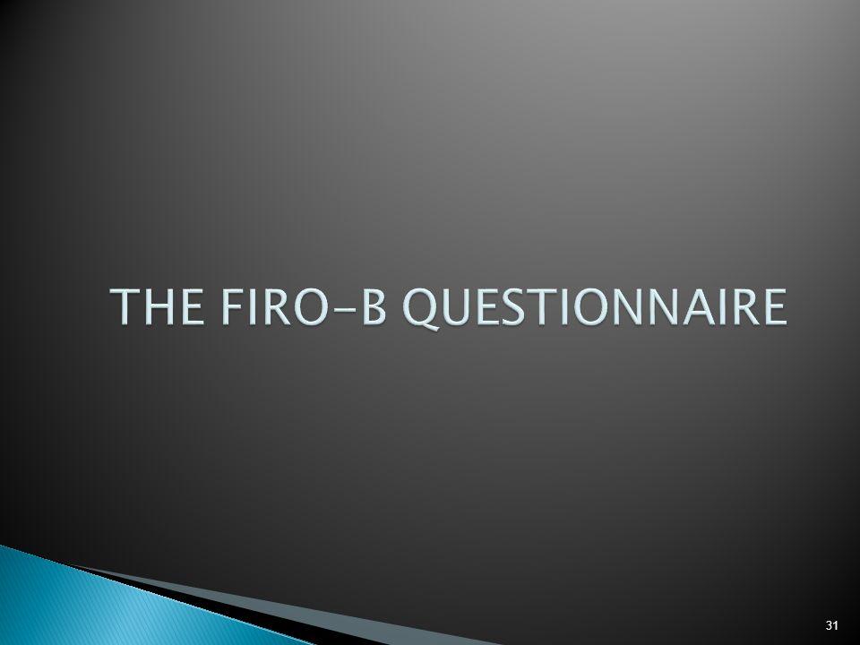 THE FIRO-B QUESTIONNAIRE