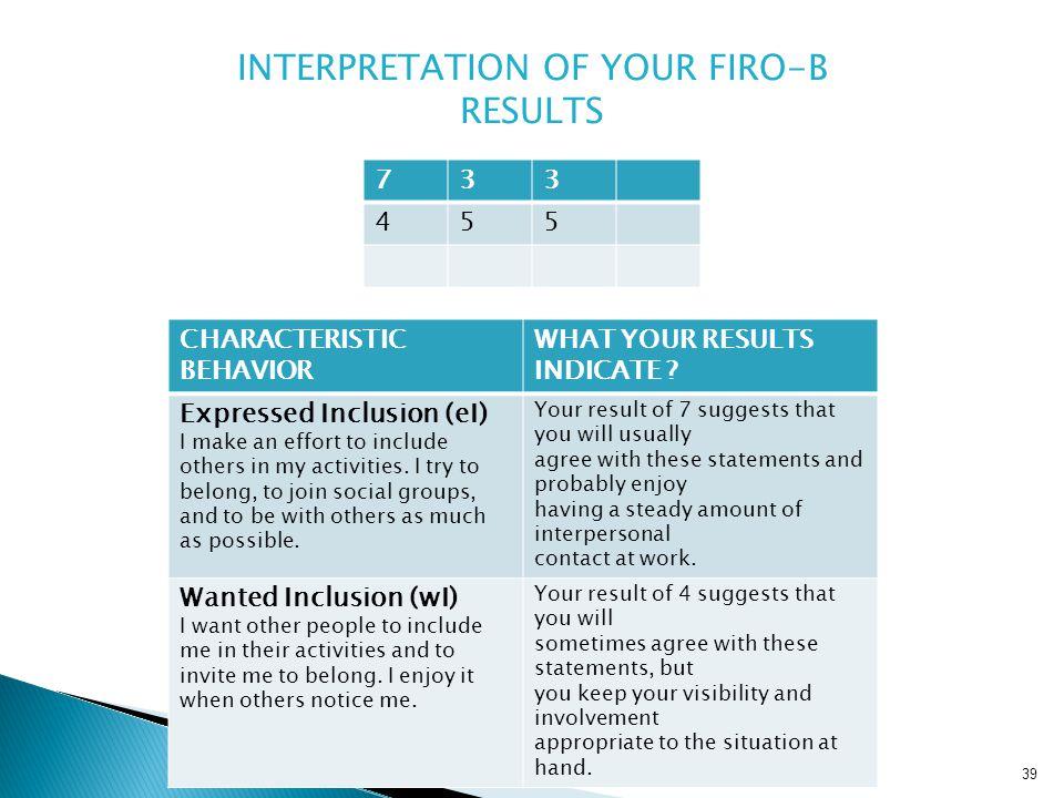 INTERPRETATION OF YOUR FIRO-B RESULTS