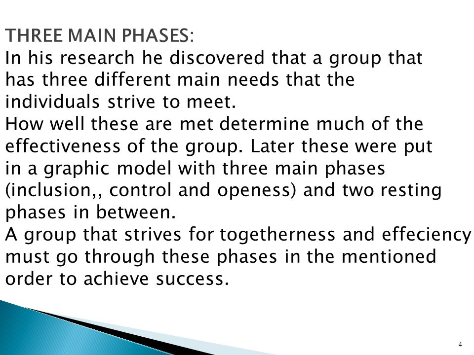 THREE MAIN PHASES: In his research he discovered that a group that. has three different main needs that the.
