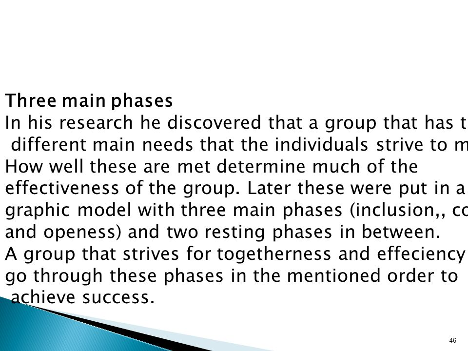 Three main phases In his research he discovered that a group that has three. different main needs that the individuals strive to meet.
