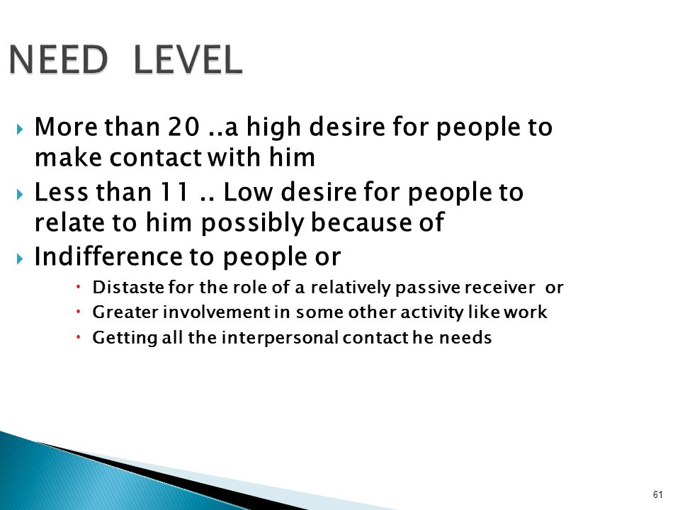 NEED LEVEL More than 20 ..a high desire for people to make contact with him.