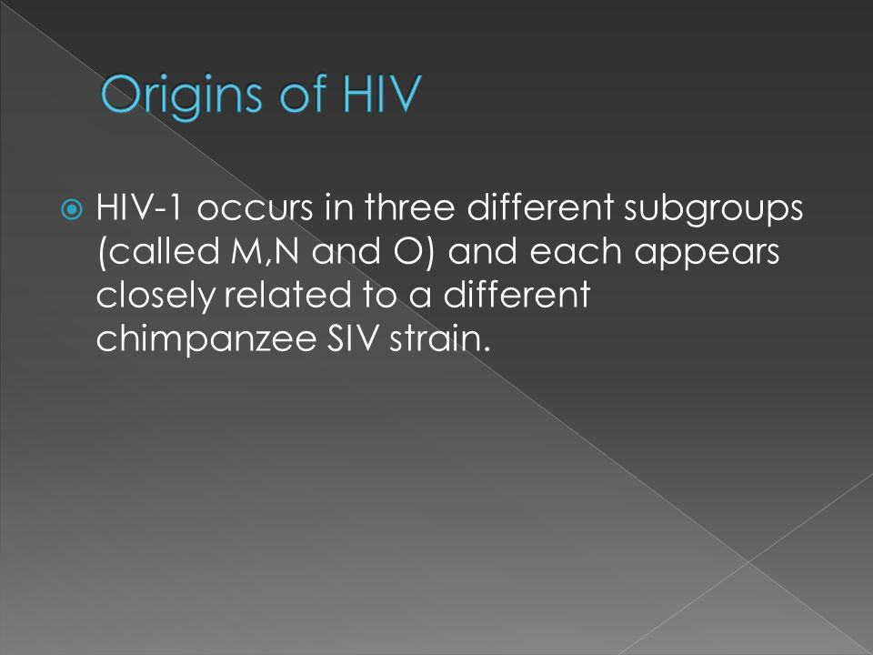 Origins of HIV HIV-1 occurs in three different subgroups (called M,N and O) and each appears closely related to a different chimpanzee SIV strain.