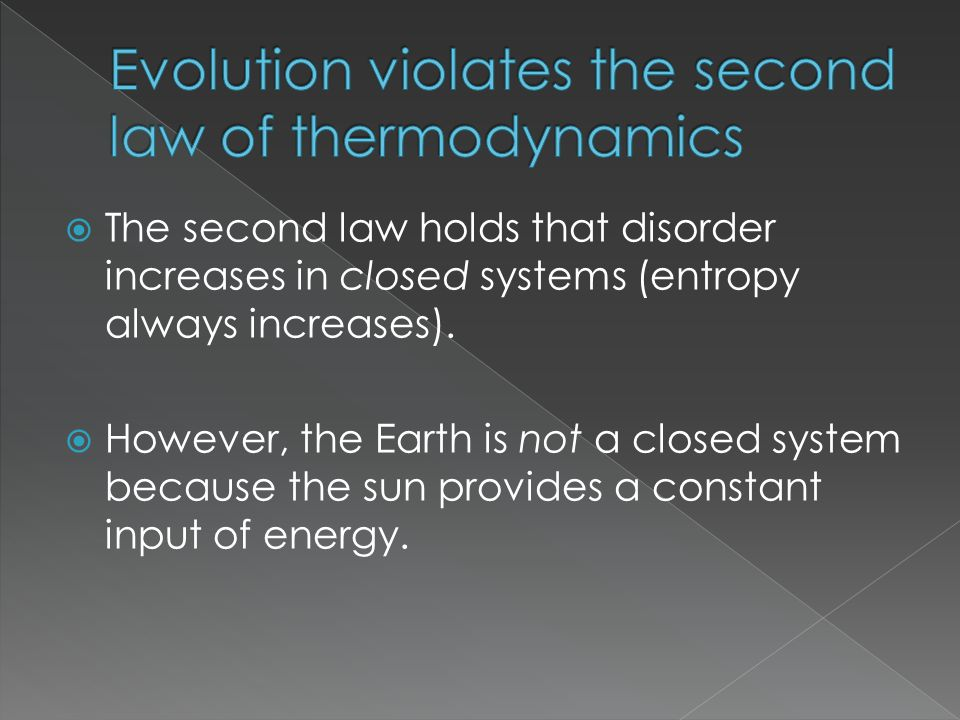 Evolution violates the second law of thermodynamics