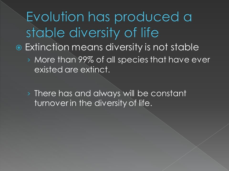 Evolution has produced a stable diversity of life