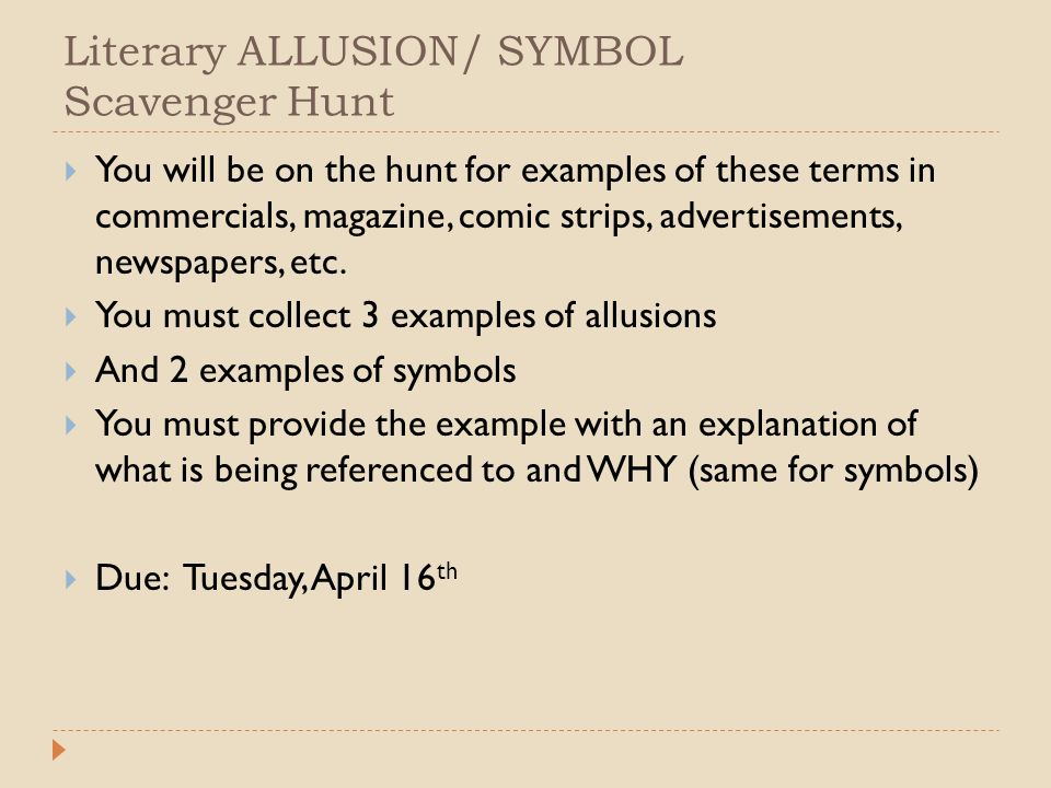 Literary ALLUSION/ SYMBOL Scavenger Hunt