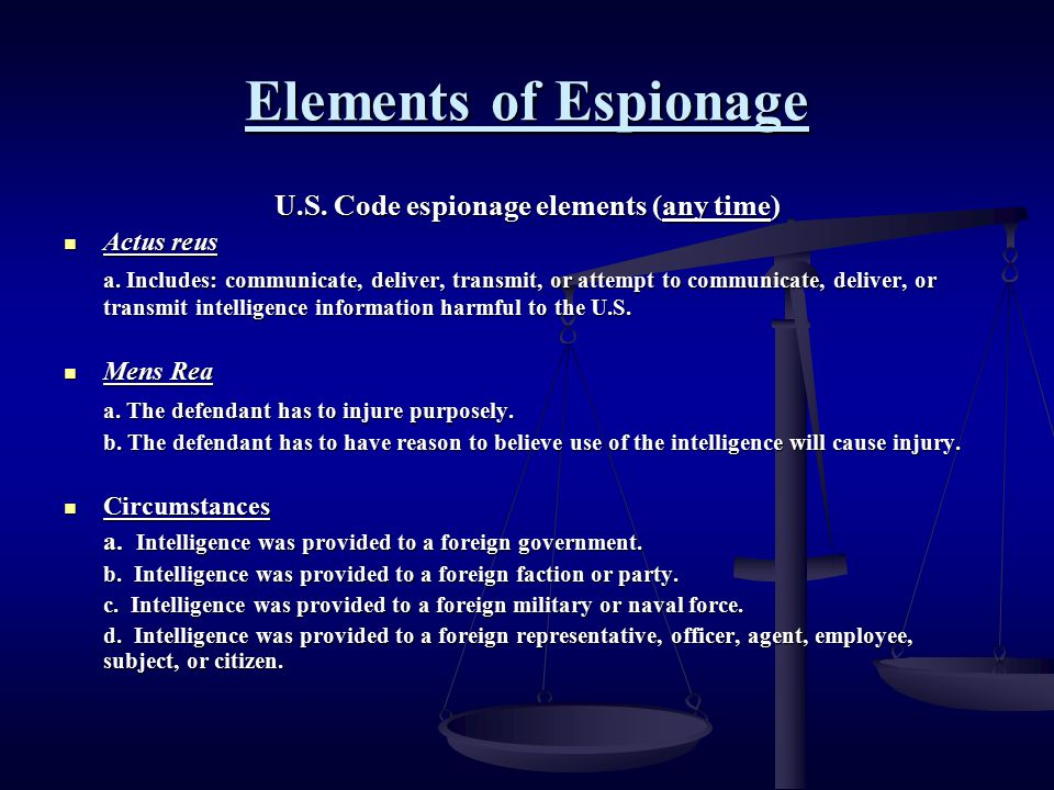 U.S. Code espionage elements (any time)