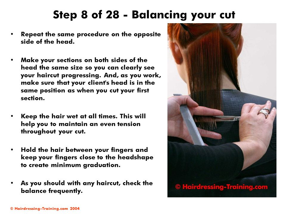 Step 8 of 28 - Balancing your cut