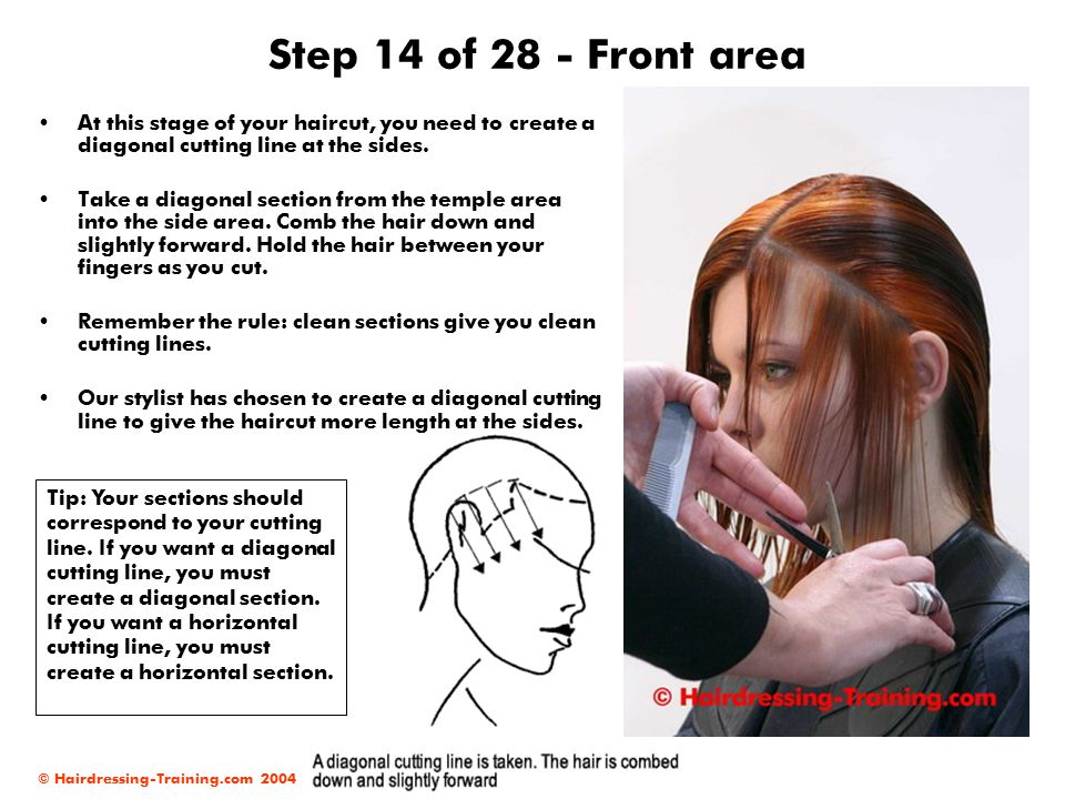 Step 14 of 28 - Front area At this stage of your haircut, you need to create a diagonal cutting line at the sides.