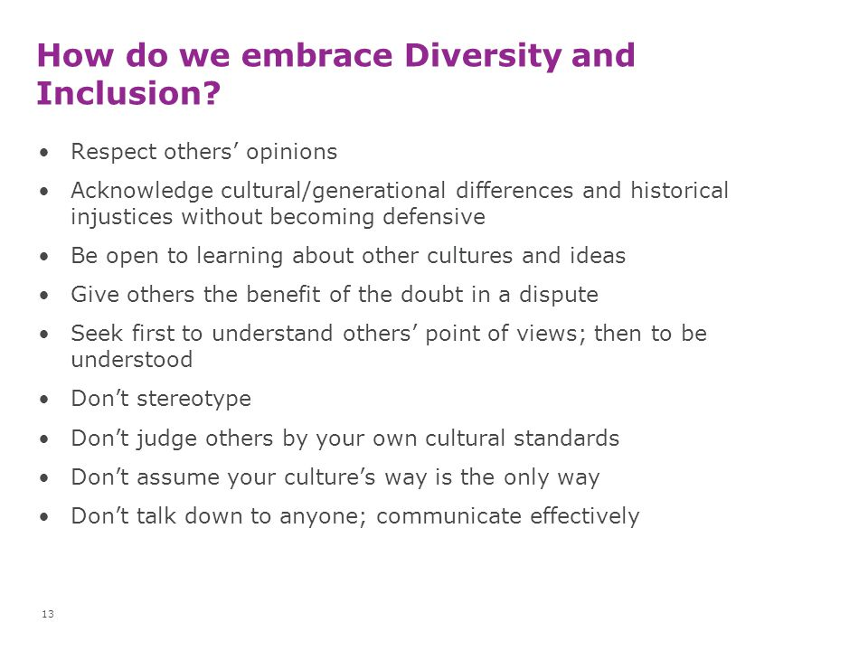 How do we embrace Diversity and Inclusion
