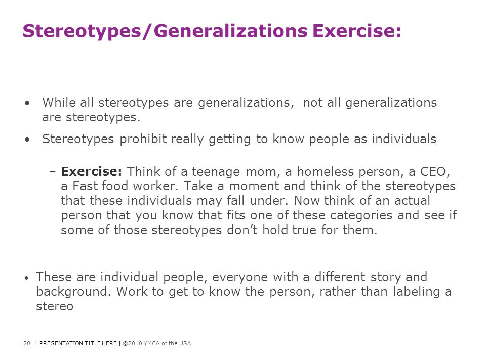 Stereotypes/Generalizations Exercise: