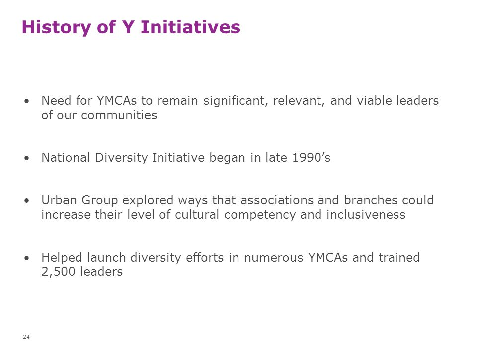 History of Y Initiatives