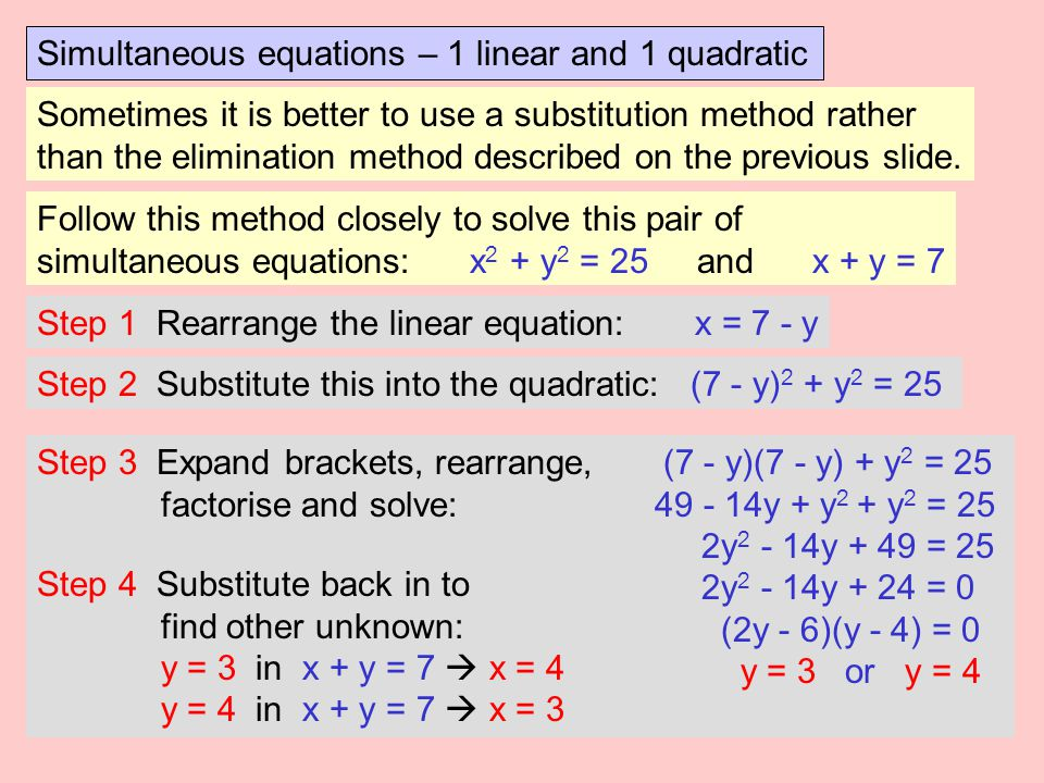 Simultaneous equations – 1 linear and 1 quadratic