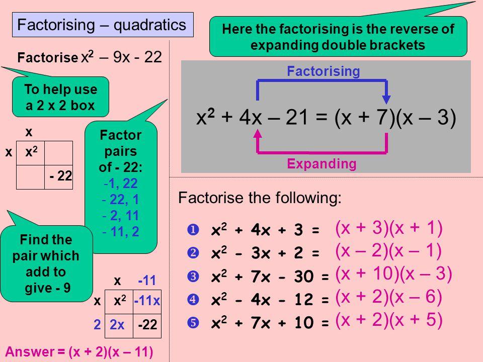 x2 + 4x – 21 = (x + 7)(x – 3) (x + 3)(x + 1) (x – 2)(x – 1)