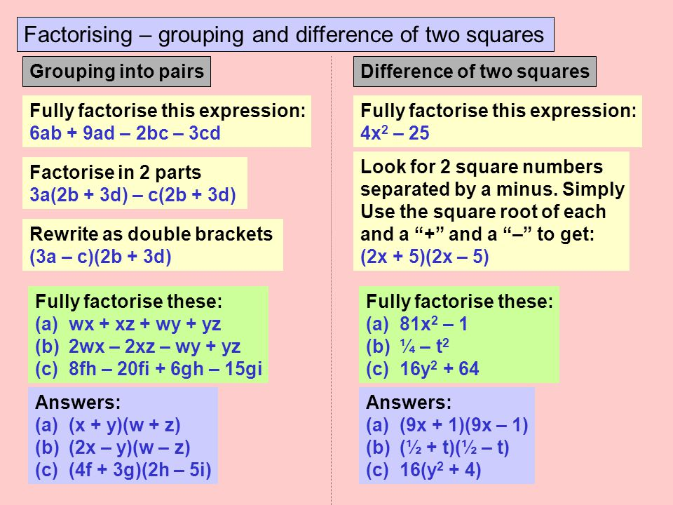Factorising – grouping and difference of two squares