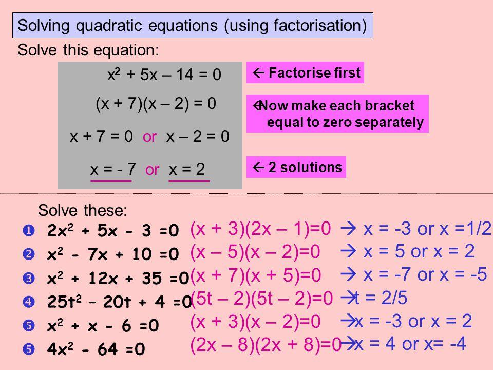 (x + 3)(2x – 1)=0 (x – 5)(x – 2)=0 (x + 7)(x + 5)=0 (5t – 2)(5t – 2)=0