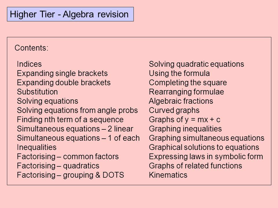 Higher Tier - Algebra revision