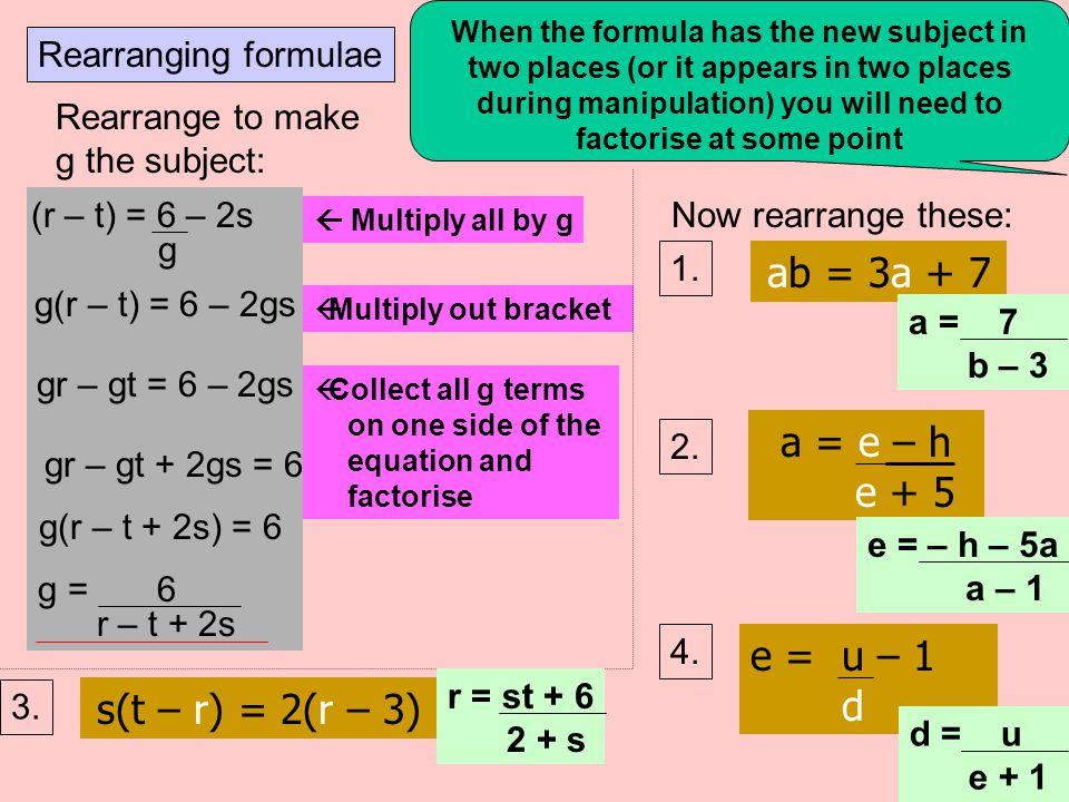 ab = 3a + 7 a = e – h e + 5 e = u – 1 d s(t – r) = 2(r – 3)