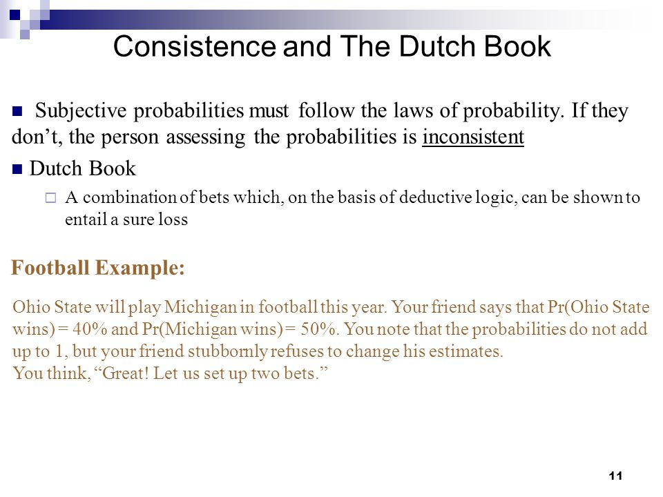 Consistence and The Dutch Book