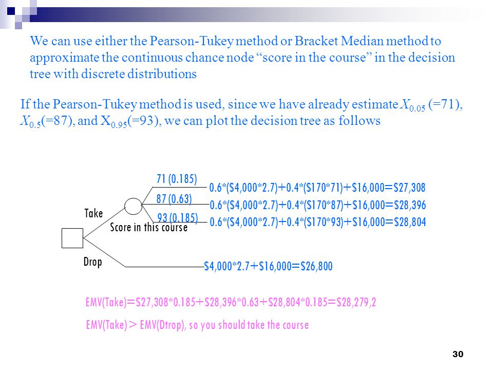 We can use either the Pearson-Tukey method or Bracket Median method to approximate the continuous chance node score in the course in the decision tree with discrete distributions
