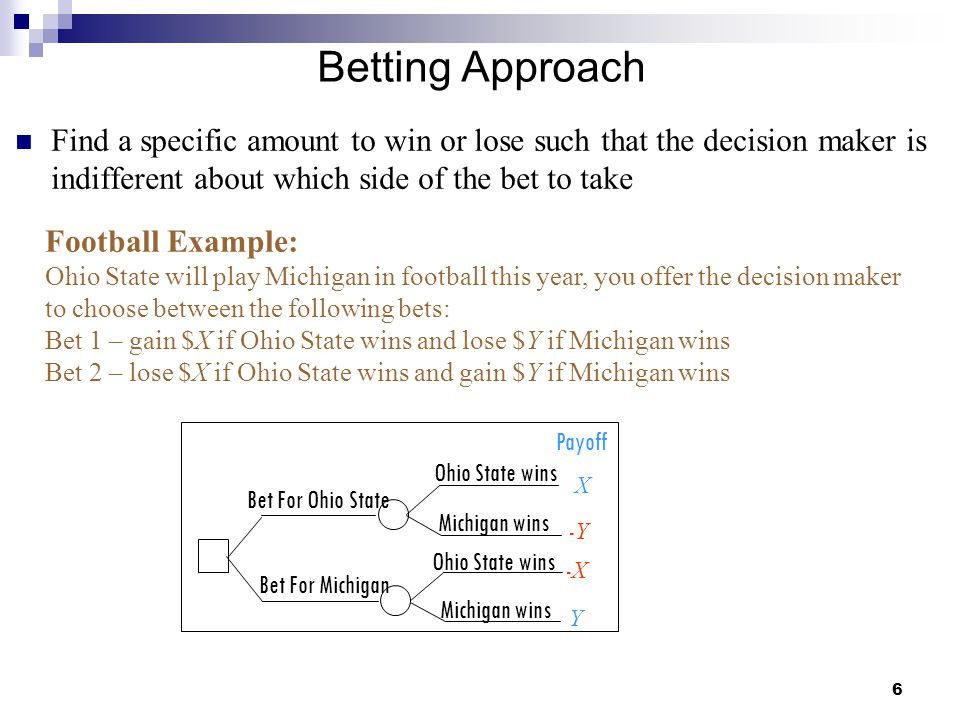 Betting Approach Find a specific amount to win or lose such that the decision maker is indifferent about which side of the bet to take.